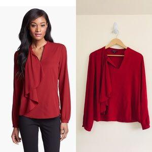 Lafayette 148 silk red side ruffle blouse sz 12